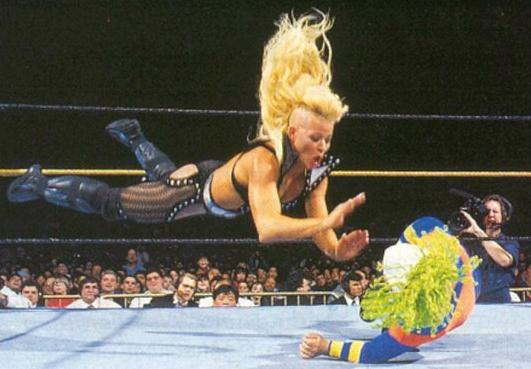 luna flying at doink! i think she got her ass whooped doe.....